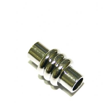 1 x 18mm Magnet Clasps ribbed barrel Rhodium Plated - S.F03 - WA216 - 2801011